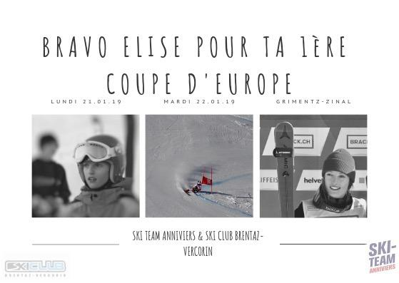 Elise Hitter en Coupe d'Europe!